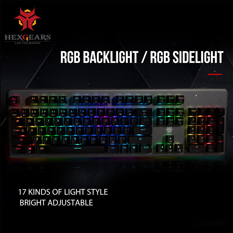 HEXGEARS GK755-A Kailh BOX Switch Mechanical Keyboard 104 Key PBT Keycaps Mechanical Gaming Keyboard RGB Back Light Keyboard