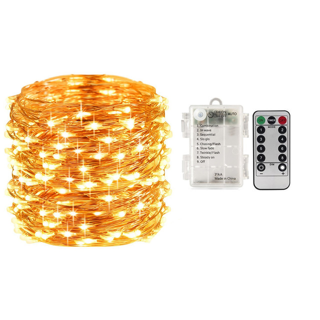 100 led lighting strings battery operated waterproof remote control timer 8 modes 10m copper wire christmas