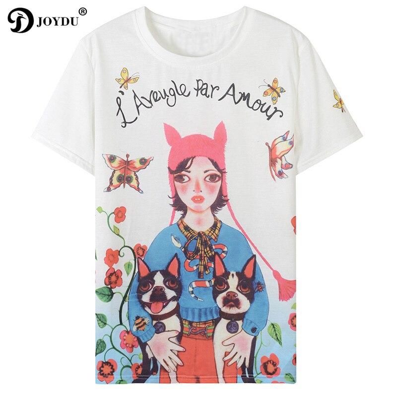 2018 New Summer Runway Designer Women S Shirt Short Sleeve Lolita T Shirt Flowers Girl Bulldog
