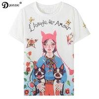 2018 nuevo verano Runway diseñador de la camisa de las mujeres manga corta Lolita Flores chica bulldog imprimir vintage camiseta femenina tops