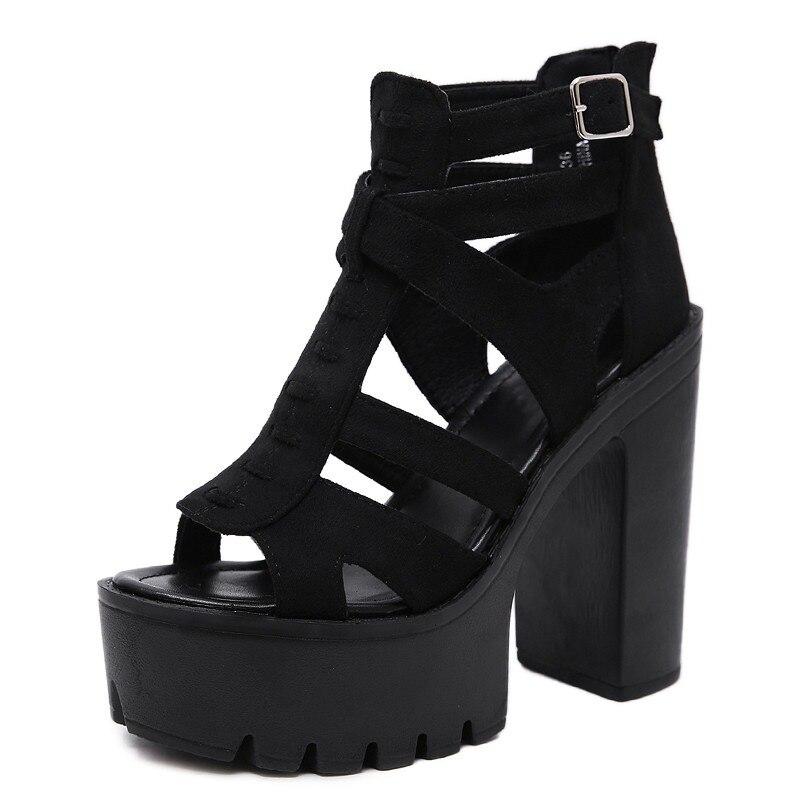 9f78de4b80c7eb Gdgydh Gothic sandały buty damskie Suede Gladiator sandały dla kobiet  wysokie obcasy na imprezę czarny promocja