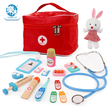 Logwood Children Doctor Toys Role-playing Games Doctor Sets Dentist Medicine Box Pretend Doctor Play Toys for Girls wood doctor toys mini pretend play toys for children fun indoor desk toys