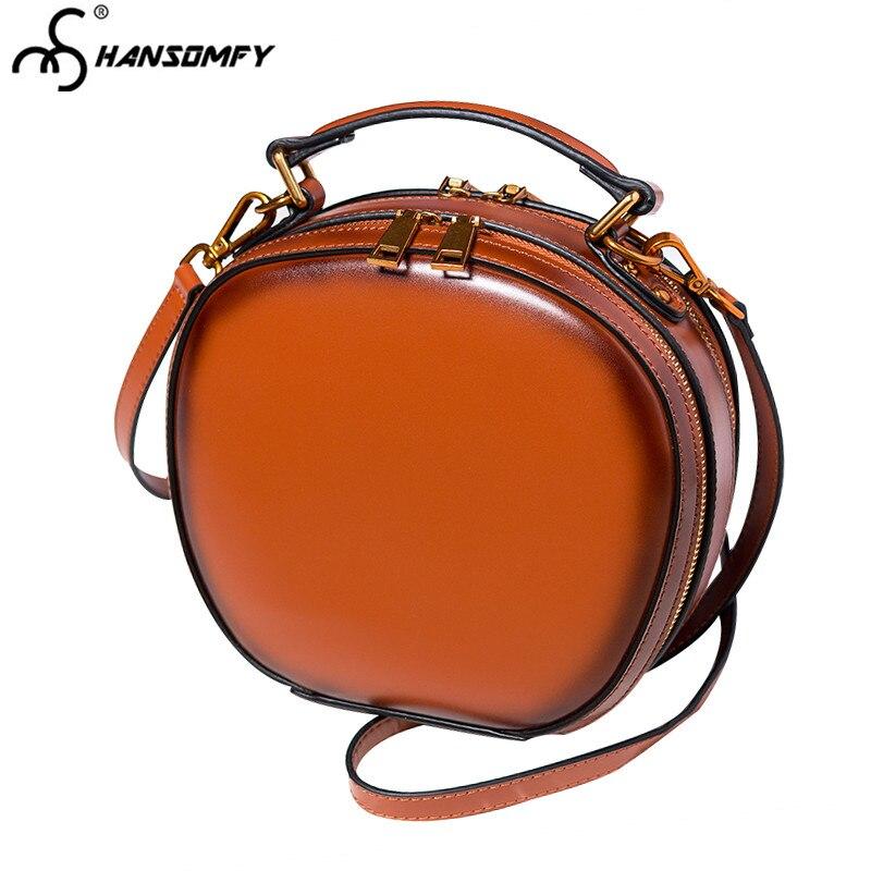 BJYL новые женские сумки из натуральной кожи, женские сумки на плечо в стиле ретро, сумка мессенджер, Мини Круглая сумка - 2