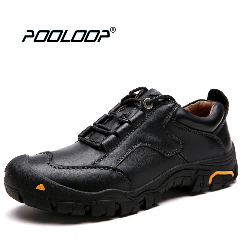 POOLOOP High Quality Men Black Oxford Shoes Genuine Leather Safety Shoes Casual Mens Work Shoes Outdoor