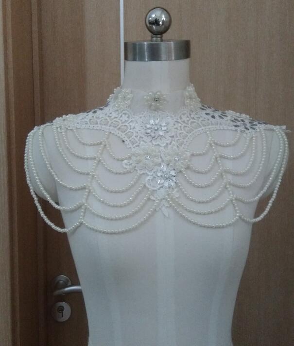 Dentelle blanche ou ivoire mariage perle de mariée cristal châle Wrap Cape boléro veste haussement d'épaules