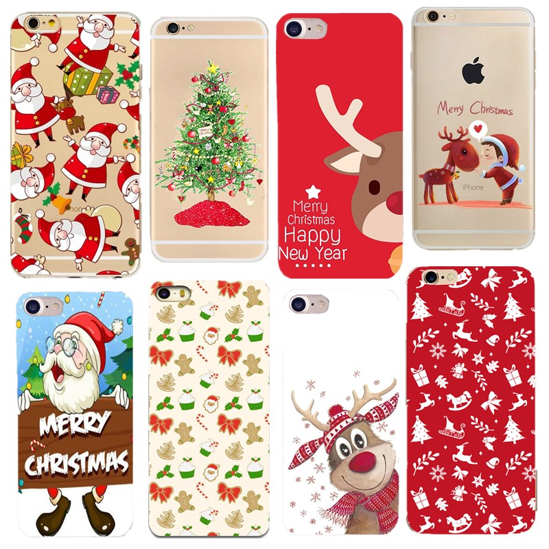 Christmas Iphone X Case.Lovely Santa Claus Elk Case For Iphone X Case Cartoon Christmas Painted Cover Soft Cases For Iphone 7 6 6s 8 Plus 5s Se