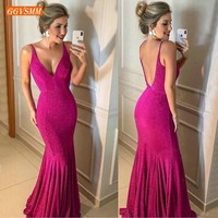 Stylish Fuchsia Mermaid Evening Dresses Long Women Formal Dress 2019 Banquet V Neck Backless Special Occasion Party Evening Gown