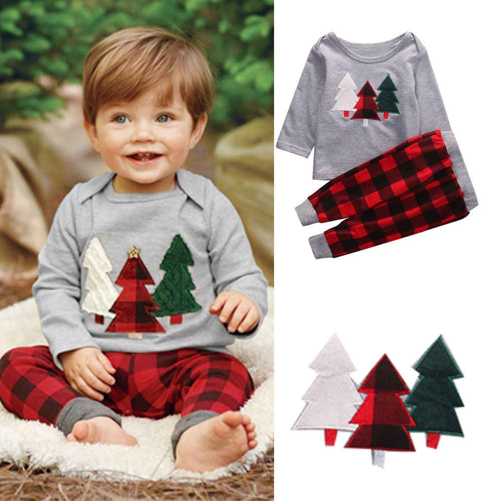 2017 Kids Baby Boy Long Sleeve Christmas Clothes Set T-shirt+Plaid Pants 2PCS Outfits Xmas Children Clothing