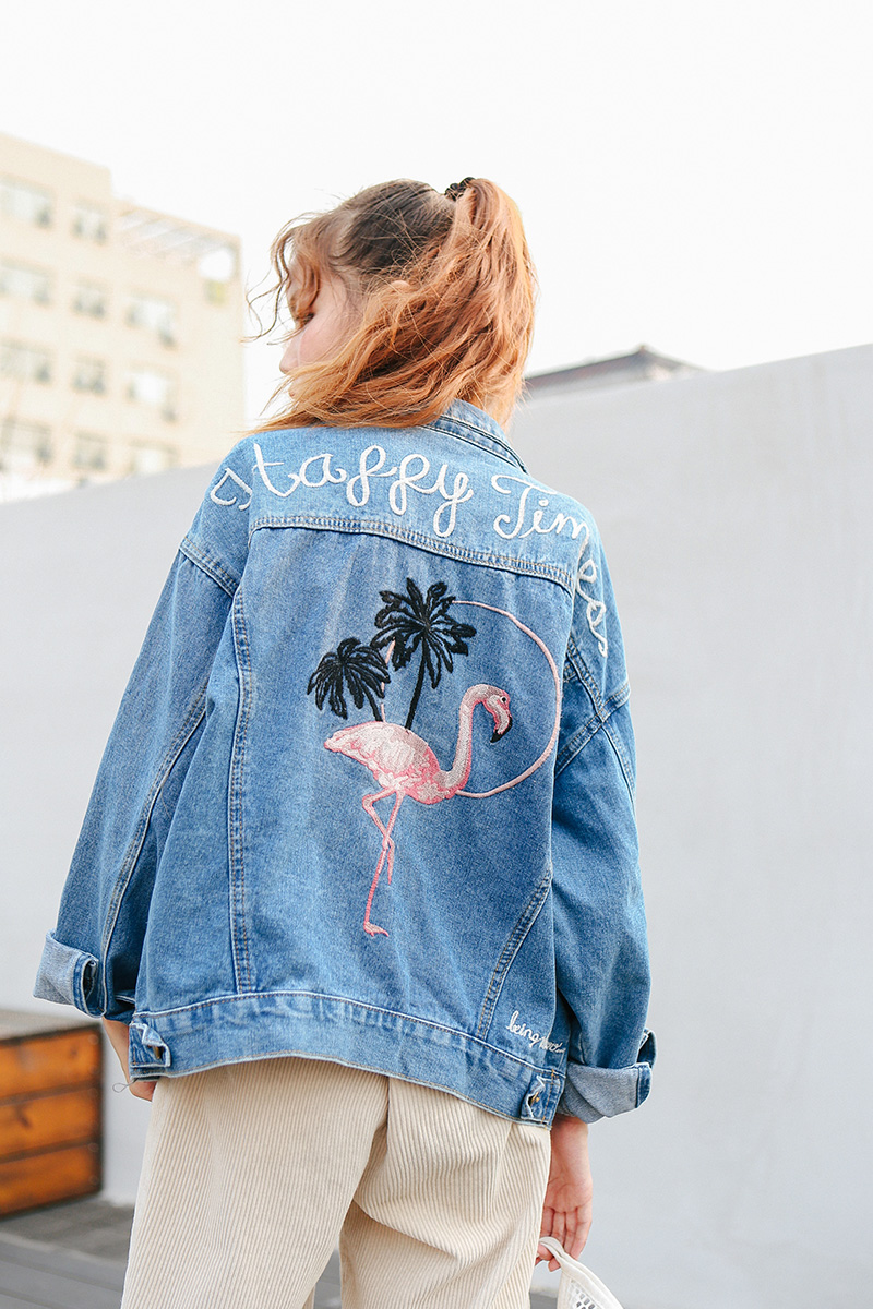 Bird Embroidered Letter Denim Blue Simple Fashion Vintage Casual All Match 2018 Winter New Long Sleeve Female Jackets 6