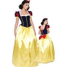 Mais tamanho 6xl adulto neve branca cosplsy traje trajes de halloween para as mulheres conto de fadas princesa cosplay feminino longo vestido