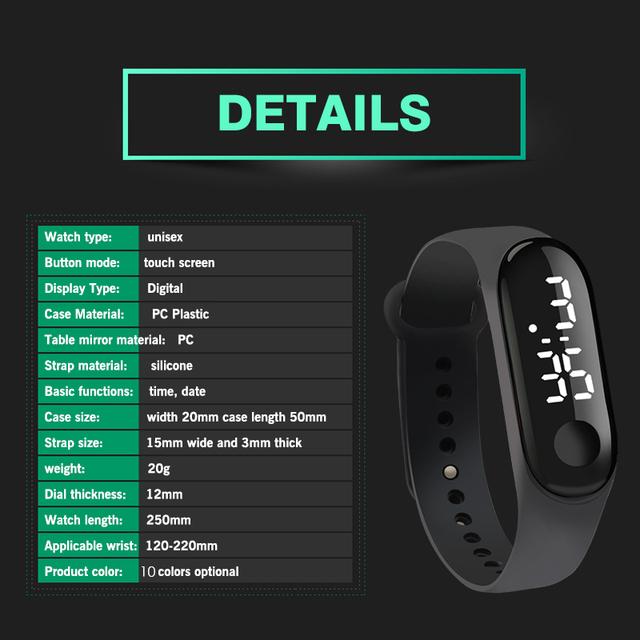 Reloj Digital Pantalla táctil pantalla LED correa de silicona hombres mujeres pareja reloj pulsera electrónica relojes niños deporte reloj de Fitness