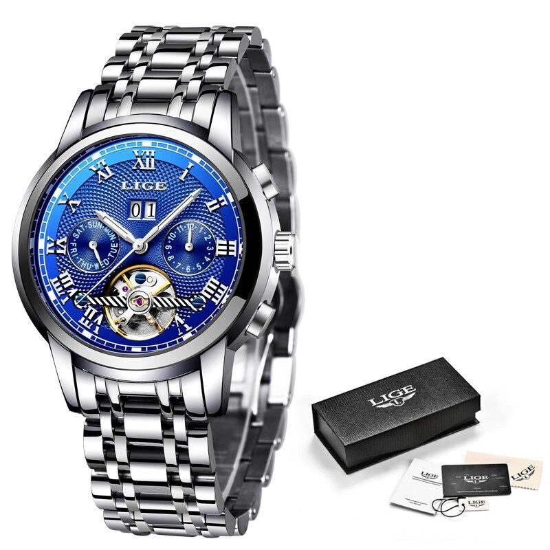 Relogio Masculino New LIGE Mens Watches Brand Top Brand Business Automatic Mechanical Watch Men's Waterproof Luminous Watch+Box все цены