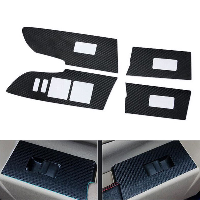 For Toyota Corolla 2014 2015 2016 4Pcs Black Carbon Fiber Car Window Lift Switch Sticker Cover Trim Decal Styling Accessories