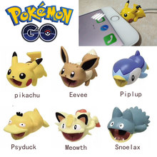 Pokemon Go Cable Protector USB Charging Cable Bite Cosplay Props iPhone Take A Bite Pikachu Eevee Psyduck Snoelax Cable Case(China)