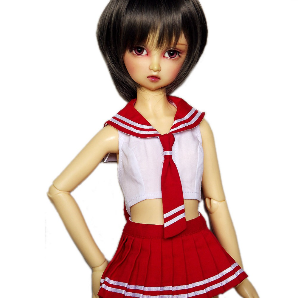 [wamami] 251#Red School Uniform/Suit For 1/4 MSD AOD DOD BJD Doll Dollfie forest retro uniform shoes 3colors for bjd 1 4 msd 1 3 sd10 sd13 super dollfie luts dod as dz doll shoes sw5
