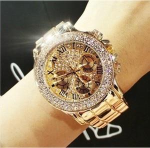 Image 1 - 2019 女性のラインストーンは女性のドレス女性の腕時計ダイヤモンド高級ブランドブレスレット腕時計レディースクリスタルクォーツ時計