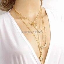 Female women multi layers diamante angel wing arrow turkish gold statement jewelry necklace girly