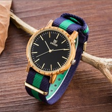 Hot sales! S2016 New arrival Fashion Wooden Watch Women's Bamboo Wood Watch Men's Quartz Nylon Wristwatches Gift Watch relogio