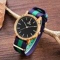 Venda quente 2017 Nova chegada De Moda De Madeira Relógio De Madeira De Bambu das Mulheres Relógio de Quartzo dos homens de Nylon de Pulso Relógio de Presente relogio