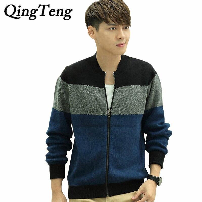 QingTeng 2017 New Arrival Winter Patchwork font b Sweater b font font b Men b font