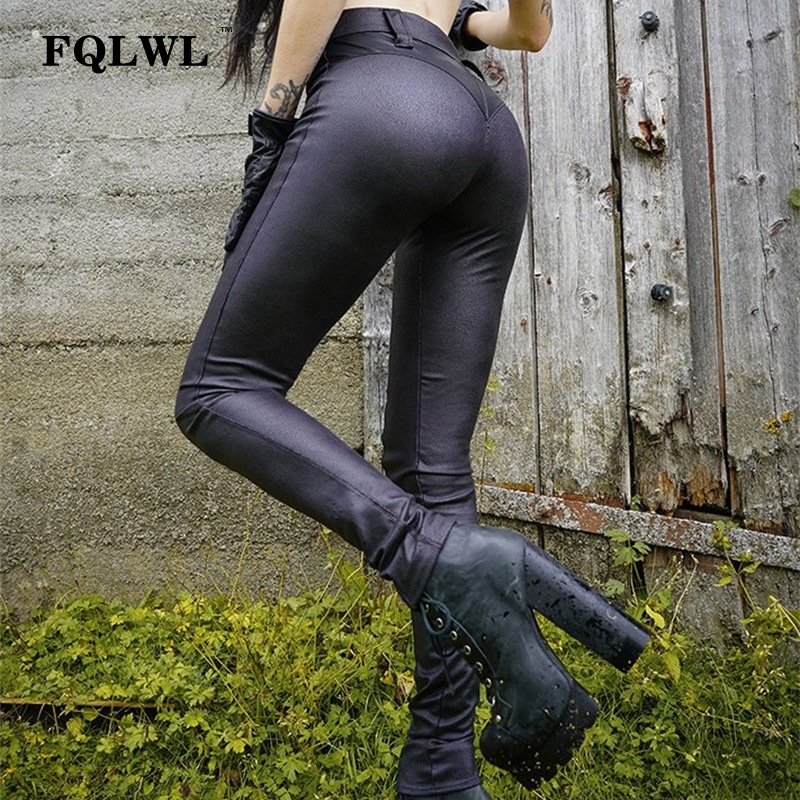 FQLWL Punk Bodycon Faux Pu Leather Pants Women Push Up Black High Waist Pants Female Autumn Winter Trousers Women Sexy Pants 13