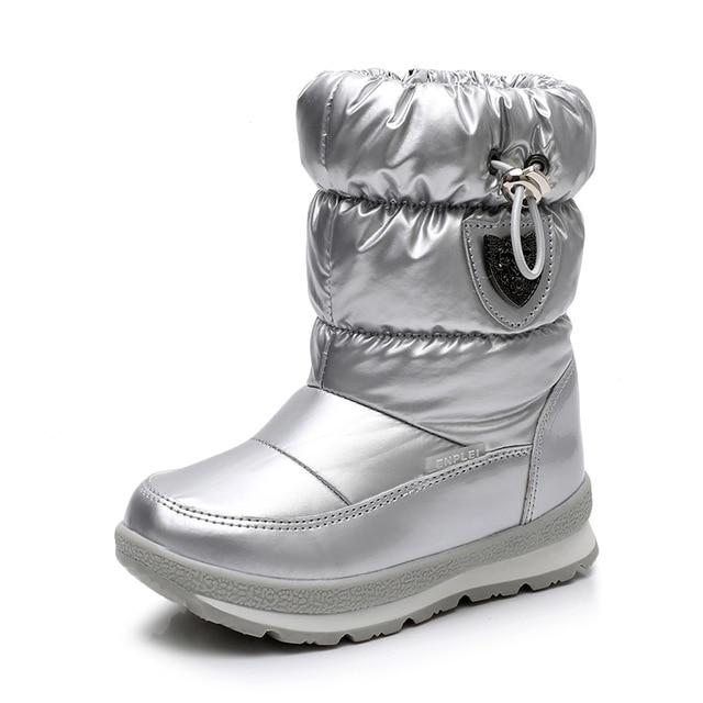 ULKNN Winter Boots For Girls Boys  Kids Boots 2018 New Waterproof Botas Thickening Snow Gold Dark Green 26 27 28 29 30 Size