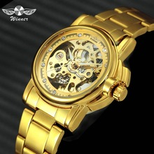WINNER Luxury Women Golden Skeleton Auto Mechanical Watch Stainless Steel Strap Crystal Diamond Decoration  Ladies Wristwatch