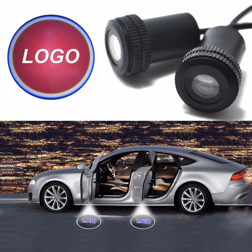 1 Pair Auto Brand Emblem Logo LED Lamp Laser Shadow Car Door Welcome Step Projector Shadow Ghost Light For Audi VW Chevys Honda 12v wireless led car door welcome laser projector 3d logo emblem light ghost shadow light for audi a8 a6l a6 a4l a4 r8 tt q5