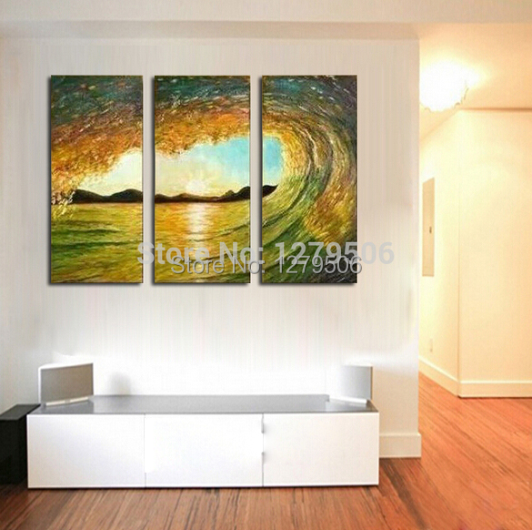 Hand Painted Abstract Oil Paintings On Canvas Hang Picture For Living Room Wall Decor The Beauty In Seawave