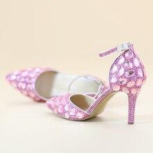 Новая Мода Кристалл Алмаза Сандалии Острым Носом Розовые Свадебные Туфли для Невесты Женщины Насосы Взрослый Ceremoney Обувь с Лодыжки Ремнями