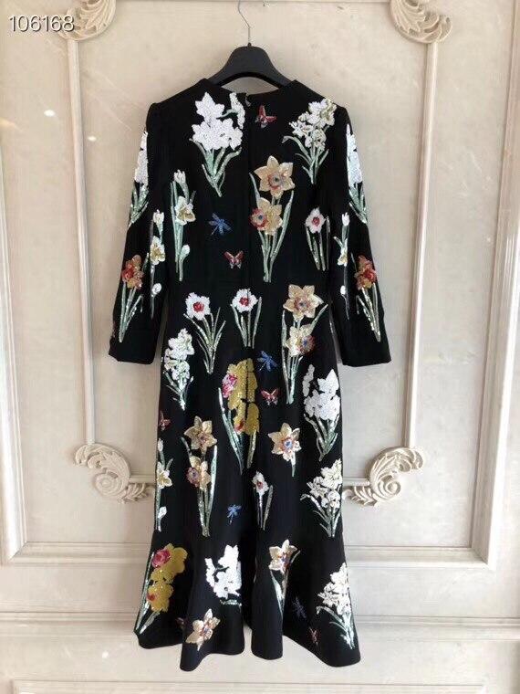 Nouvelle Mode À Sirène As Qualité 2018 Imprimer Élégant Broderie Robe Longues Haute Piste Manches Cou Femmes O Vintage Pic Paillettes qAqR08S