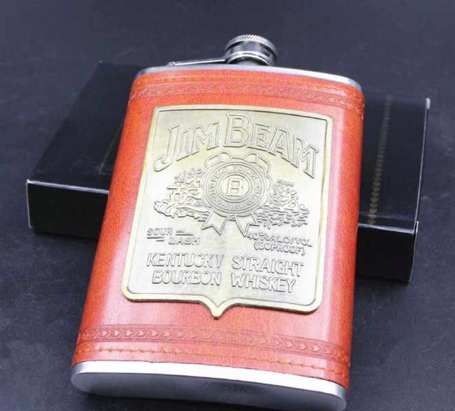 High Quality 9 oz Stainless Steel Hip Bottle Whiskey Bottle Vintage Leather Wine Engraved Alcohol Pocket Flask