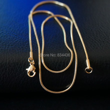 Free Shipping 1.2mm 316L Stainless Steel Round Snake Chain Golden Color Necklace Choker Chain Jewelry mens women's Jewelry 20pcs