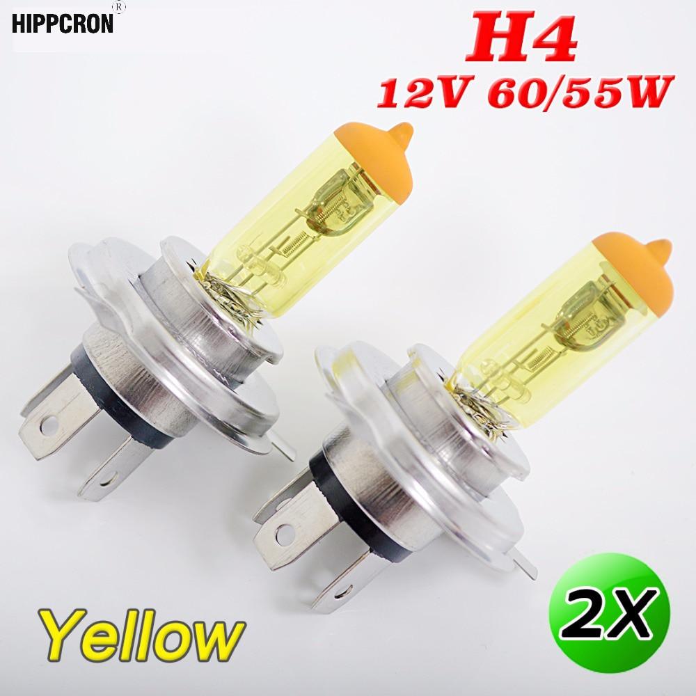 Warm White 3000K Yellow Xenon Headlight Bulbs Main Dip Beam H4 60//55W x2