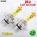 Hippcron H4 галогенная лампа 12 В 60/55 Вт желтое стекло 3000K основание из нержавеющей стали автомобильная противотуманная фара 2 шт.