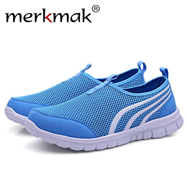 Merkmak Summer Breathable Mesh Men Casual Shoes Fashion Leisure Slip On Couple Soft Sneakers Comfortable Big Size 35-48 Shoes