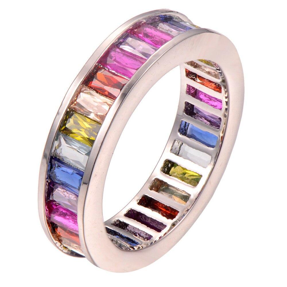 Garnet Morganite Yellow Crystal Zircon 925 Sterling silver Ring Fashion Ring Size 5 6 7 8 9 10 11 12 F1254