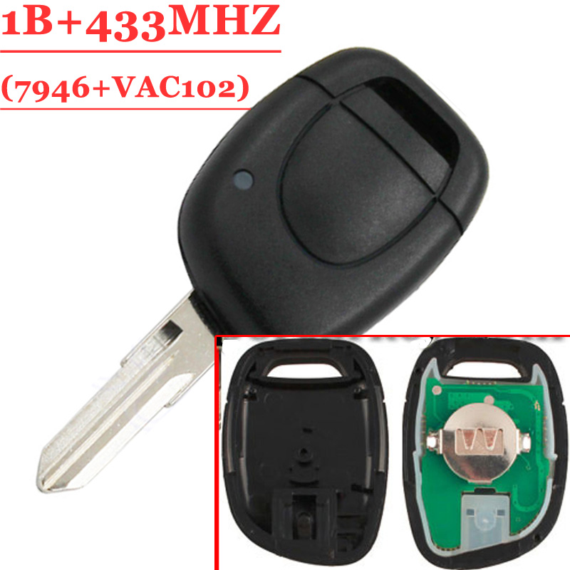 Free Shipping (1 Piece) 1 Button Vac102 Remote Key Keyless Fob  For Renault  Twingo Clio Master KANGO PCF7946 Chip 433Mhz
