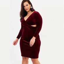 Burgundy long sleeve cut out cross over knee length plus size velvet dresses  women ladies oversize 1a862f7ac6b7