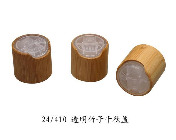 купить 24/410 100pcs/lot bamboo press cap/ disc cap black/white/clear lotion head High-grade natural bamboo cover Cosmetic bottle cover по цене 7198.22 рублей