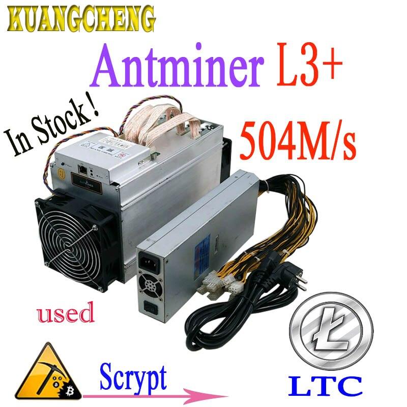 Utilisé Asic mineur ANTMINER L3 + LTC 504 m 800 w scrypt Mining LTC Mur consommation d'énergie Mieux Que antminer s9 T9 DR3 whatsminer m3