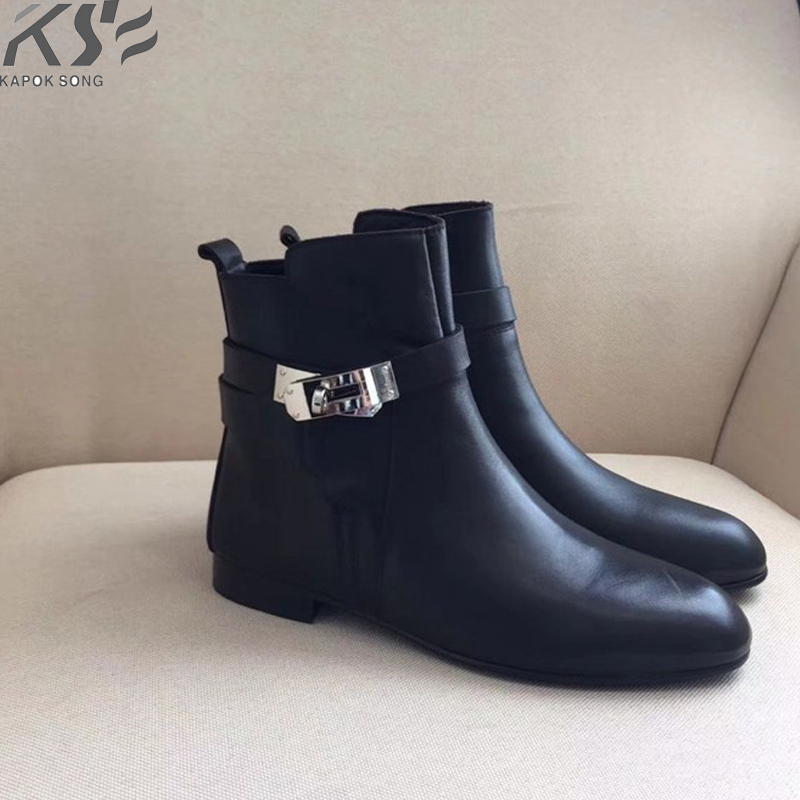 genuine leather women kelly boots short luxury designer brand boots kelly buckle H boots really cow leather winter boots maite kelly aurich