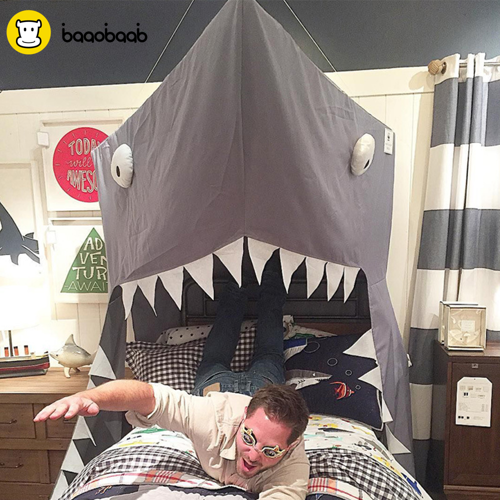 BAAOBAAB SYCM Toy Tent Portable Foldable Shark Bed Mantle For Baby Bed Crib Children Play House Kids Mosquito Net Hang Sparver