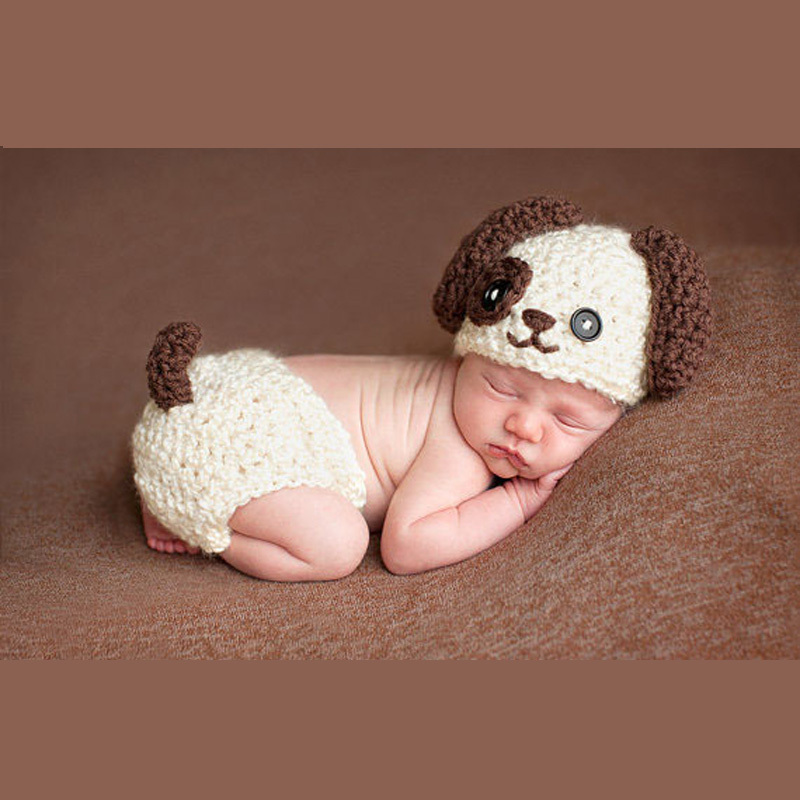Hearty Crochet Fox Design Baby Hat And Pants Set Infant Baby Photography Props Crochet Hats And Diaper Cover Set 1set Mzs-032 Mother & Kids