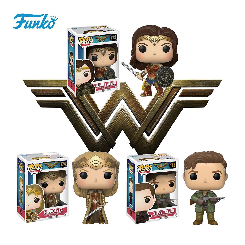 Funko pop Official DC Movies: Wonder Woman, SteveTrevor, Hippolyta Vinyl Action Figure Collectible Model Toy with Original Box  funko pop wonder woman pvc action figure collectible model toy 10cm wonderwoman