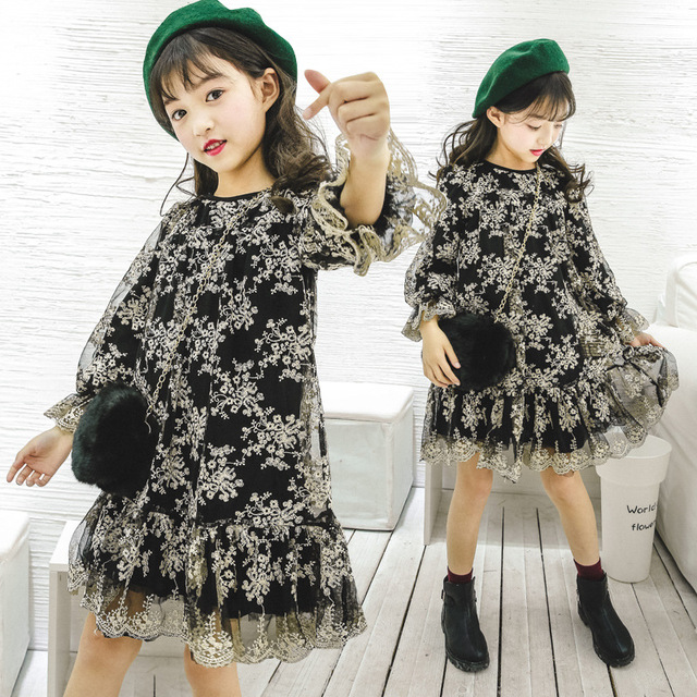 6a44799e lace flower girls dress long sleeve spring 2017 princess style cute kids 12  years old clothing