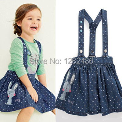New British Style dress,baby girls strap dress,cotton casual denim dress,New clothing style slip dress, cute rabbit embroidery new