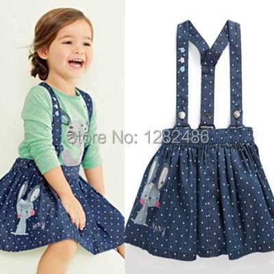 New British Style dress,baby girls strap dress,cotton casual denim dress,next clothing style slip dress, cute rabbit embroidery