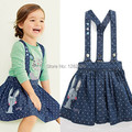 New British Style dress,baby girls strap dress,cotton casual denim dress,next clothing style slip dress, cute rabbit embroidery