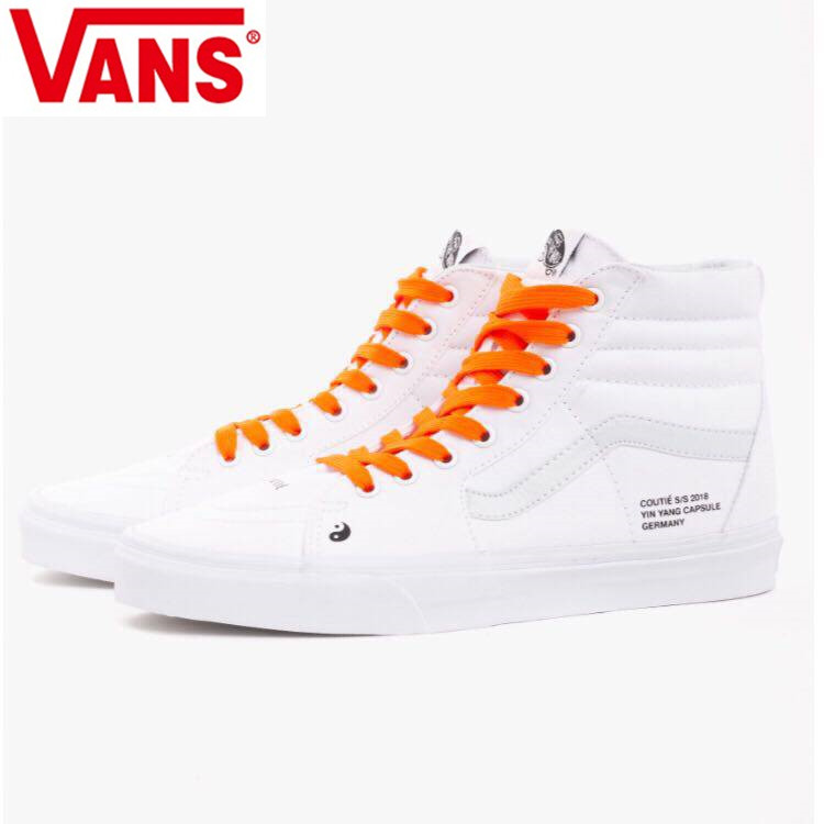 ae8c2e3742 Vans Coutie Sk8-Hi Classic Men and Womens Street dance rap white orange  canvas shoes High Weight lifting shoes Eur36-44